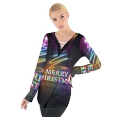 Merry Christmas Abstract Women s Tie Up Tee
