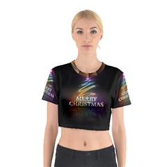 Merry Christmas Abstract Cotton Crop Top