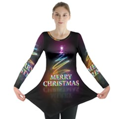 Merry Christmas Abstract Long Sleeve Tunic