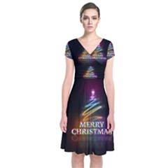 Merry Christmas Abstract Short Sleeve Front Wrap Dress