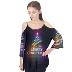 Merry Christmas Abstract Flutter Tees