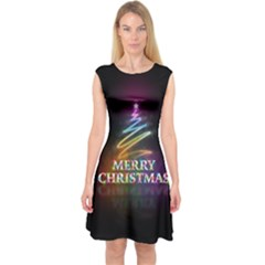 Merry Christmas Abstract Capsleeve Midi Dress