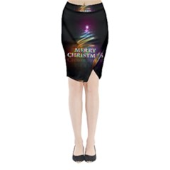 Merry Christmas Abstract Midi Wrap Pencil Skirt
