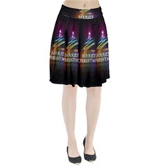 Merry Christmas Abstract Pleated Skirt