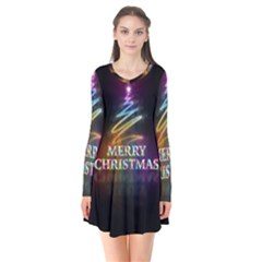 Merry Christmas Abstract Flare Dress