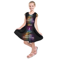 Merry Christmas Abstract Kids  Short Sleeve Dress