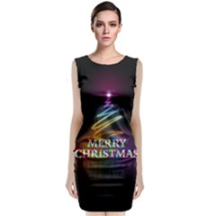 Merry Christmas Abstract Sleeveless Velvet Midi Dress