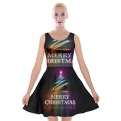 Merry Christmas Abstract Velvet Skater Dress