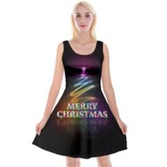 Merry Christmas Abstract Reversible Velvet Sleeveless Dress