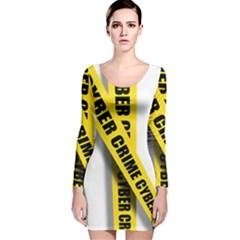 Internet Crime Cyber Criminal Long Sleeve Velvet Bodycon Dress