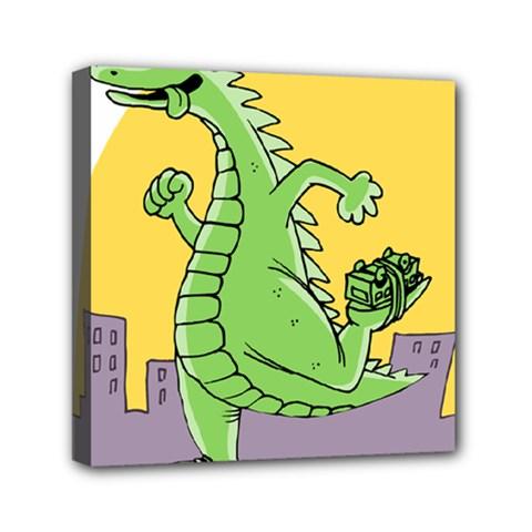 Godzilla Dragon Running Skating Mini Canvas 6  x 6