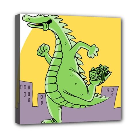 Godzilla Dragon Running Skating Mini Canvas 8  x 8