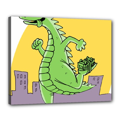 Godzilla Dragon Running Skating Canvas 20  x 16
