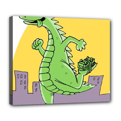 Godzilla Dragon Running Skating Deluxe Canvas 24  x 20