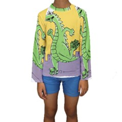 Godzilla Dragon Running Skating Kids  Long Sleeve Swimwear