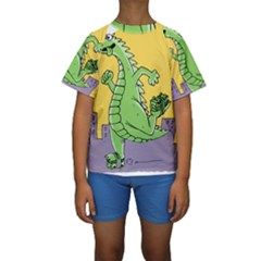 Godzilla Dragon Running Skating Kids  Short Sleeve Swimwear