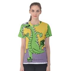 Godzilla Dragon Running Skating Women s Cotton Tee