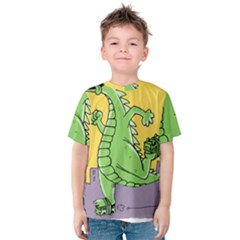 Godzilla Dragon Running Skating Kids  Cotton Tee