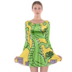Godzilla Dragon Running Skating Long Sleeve Skater Dress