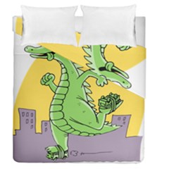 Godzilla Dragon Running Skating Duvet Cover Double Side (Queen Size)