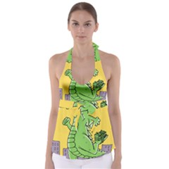 Godzilla Dragon Running Skating Babydoll Tankini Top