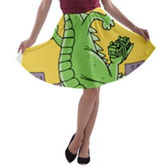 Godzilla Dragon Running Skating A-line Skater Skirt