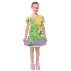Godzilla Dragon Running Skating Kids  Short Sleeve Velvet Dress