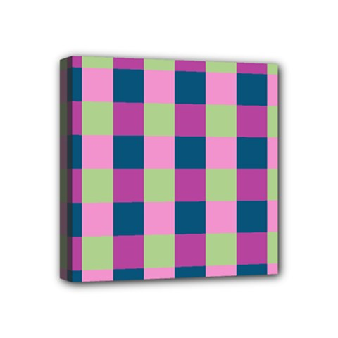 Pink Teal Lime Orchid Pattern Mini Canvas 4  x 4