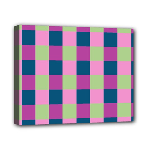 Pink Teal Lime Orchid Pattern Canvas 10  x 8