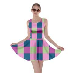 Pink Teal Lime Orchid Pattern Skater Dress