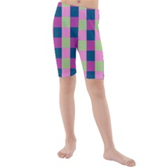 Pink Teal Lime Orchid Pattern Kids  Mid Length Swim Shorts