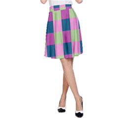 Pink Teal Lime Orchid Pattern A-Line Skirt