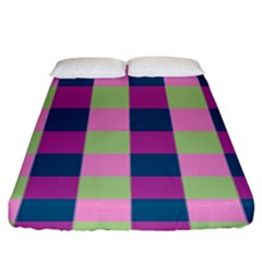 Pink Teal Lime Orchid Pattern Fitted Sheet (King Size)