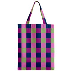 Pink Teal Lime Orchid Pattern Zipper Classic Tote Bag