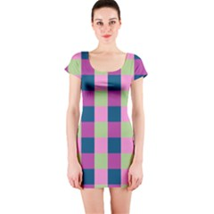 Pink Teal Lime Orchid Pattern Short Sleeve Bodycon Dress