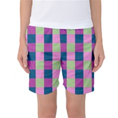 Pink Teal Lime Orchid Pattern Women s Basketball Shorts