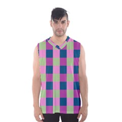 Pink Teal Lime Orchid Pattern Men s Basketball Tank Top