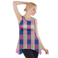 Pink Teal Lime Orchid Pattern Side Drop Tank Tunic