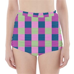 Pink Teal Lime Orchid Pattern High-Waisted Bikini Bottoms