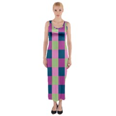Pink Teal Lime Orchid Pattern Fitted Maxi Dress
