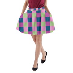 Pink Teal Lime Orchid Pattern A-Line Pocket Skirt