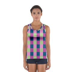 Pink Teal Lime Orchid Pattern Women s Sport Tank Top