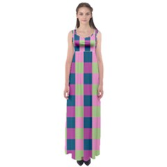 Pink Teal Lime Orchid Pattern Empire Waist Maxi Dress