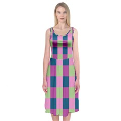 Pink Teal Lime Orchid Pattern Midi Sleeveless Dress