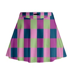 Pink Teal Lime Orchid Pattern Mini Flare Skirt