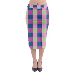 Pink Teal Lime Orchid Pattern Midi Pencil Skirt