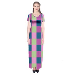 Pink Teal Lime Orchid Pattern Short Sleeve Maxi Dress
