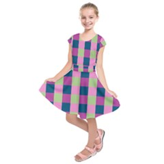 Pink Teal Lime Orchid Pattern Kids  Short Sleeve Dress