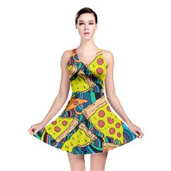 Pizza Pattern Reversible Skater Dress