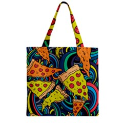 Pizza Pattern Zipper Grocery Tote Bag